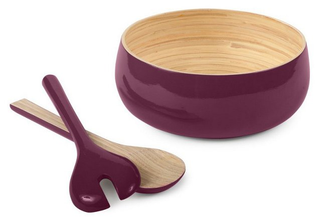 Shallow Bowl & Servers, Plum