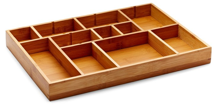 S/2 Adjustable Bamboo Drawer Organizers