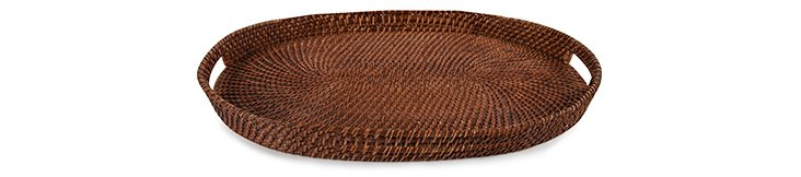 "23"" Rattan Oval Tray"