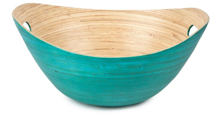 Bamboo Bucket Serving Bowl, Teal