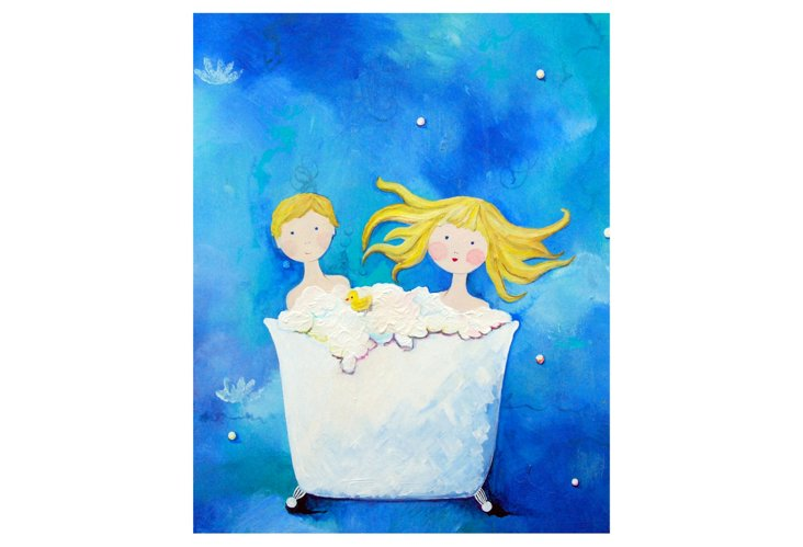 Two in a Tub - Blonde, Paper Print