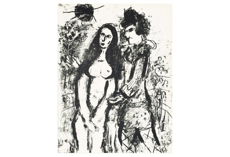 Marc Chagall, The Clown In Love