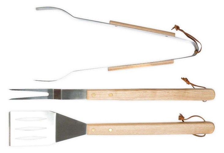 3-Pc BBQ Tool Set, Silver