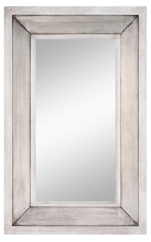 Linda Wall Mirror, Aged Silver