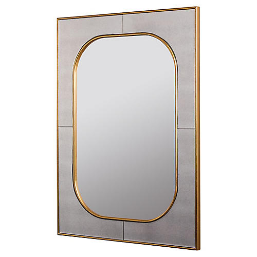 Lucca Wall Mirror, Antiqued Gold