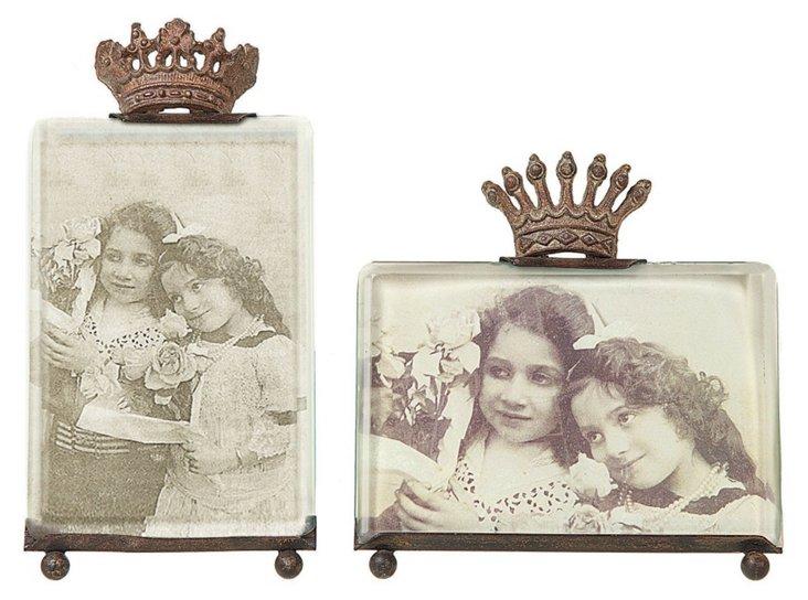 "Asst. of 2 7"" Crown Frames, Clear/Brown"