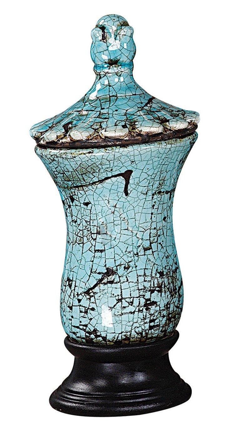 """12"""" Stoneware Urn, Blue"""