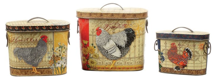 S/3 Farmhouse Rooster Canisters