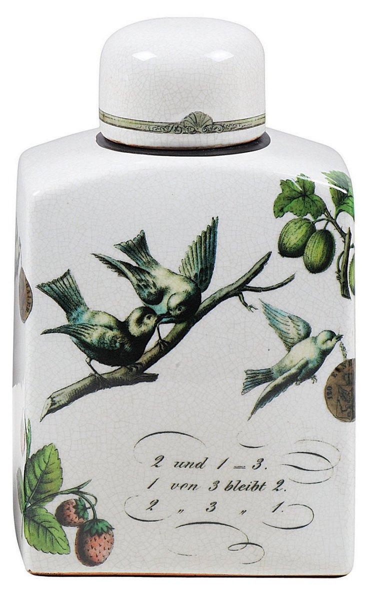 "10"" Bird Stoneware Container w/ Lid"