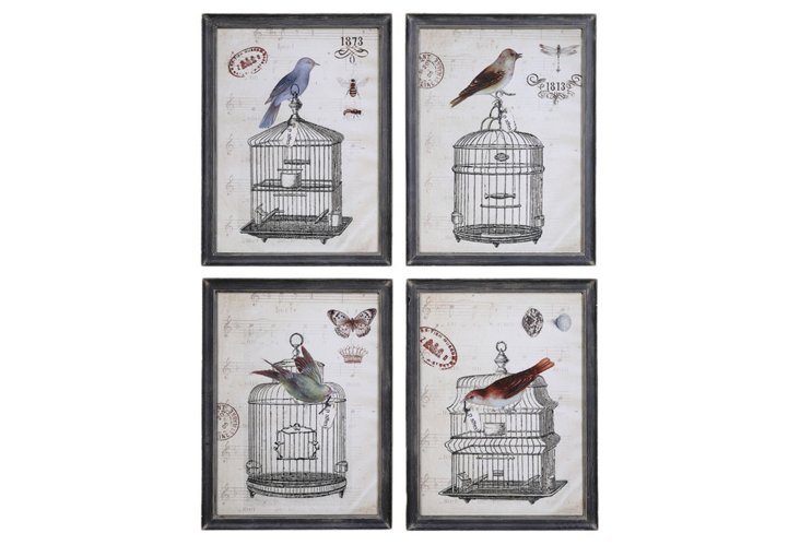 Bird Cage Wall Plaques Set