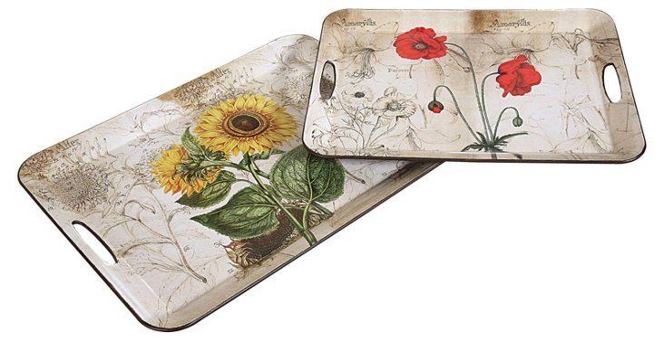 Decorative Floral Trays, Asst. of 2