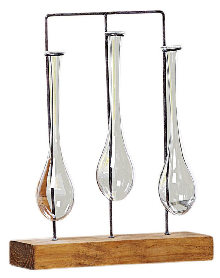 "11"" Trio of Hanging Glass Vases w/ Base"