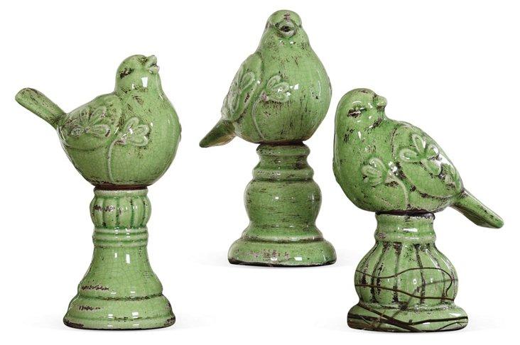 Asst. of 3 Bird Finials, Green