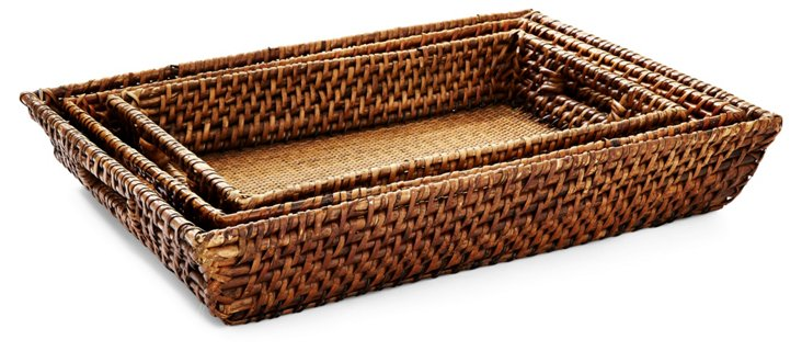 Asst. of 3 Rattan Trays, Brown