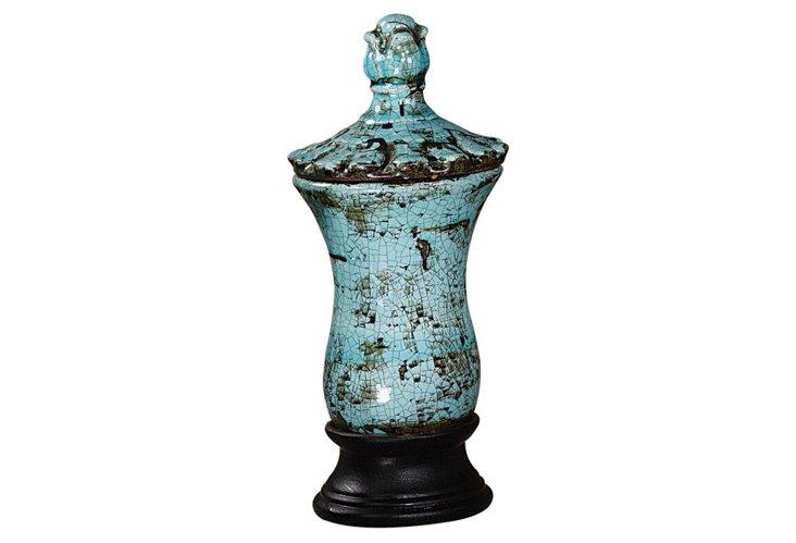 """14"""" Stoneware Urn, Blue"""