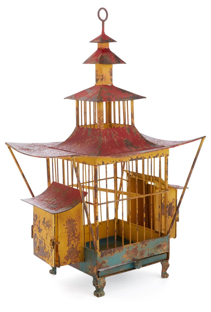 Pagoda Birdhouse, Distressed Red