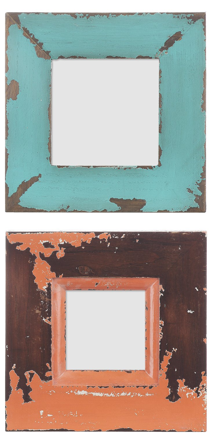 S/2 Distressed Frames, 4x4, Blue/Coral