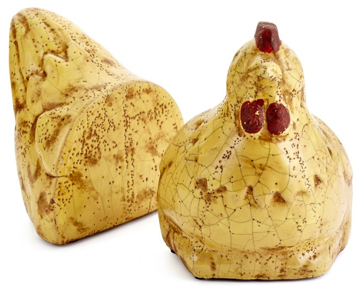 Pair of Rooster Bookends, Cream