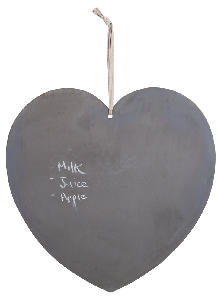 S/2 Heart-Shaped Chalk & Magnetic Boards