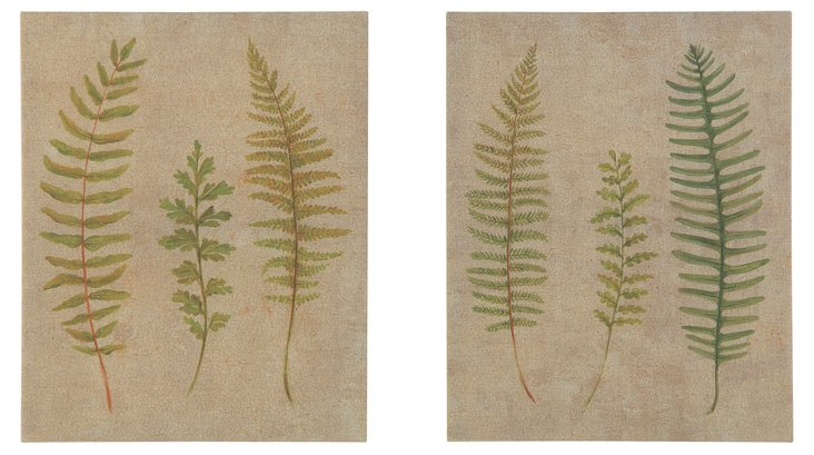 Linen Wall Plaque w/ Fern, Set