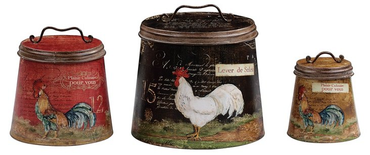 S/3 Rooster Tins