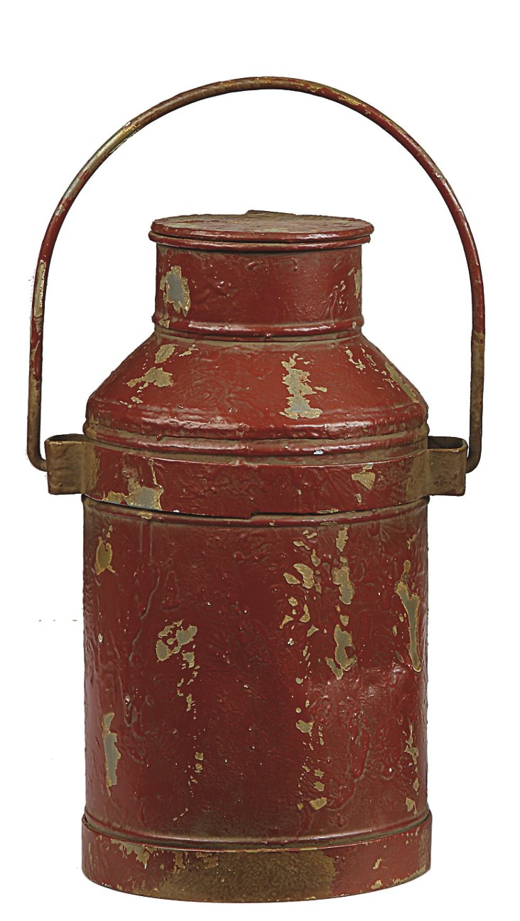 """12"""" Metal Milk Can, Red"""