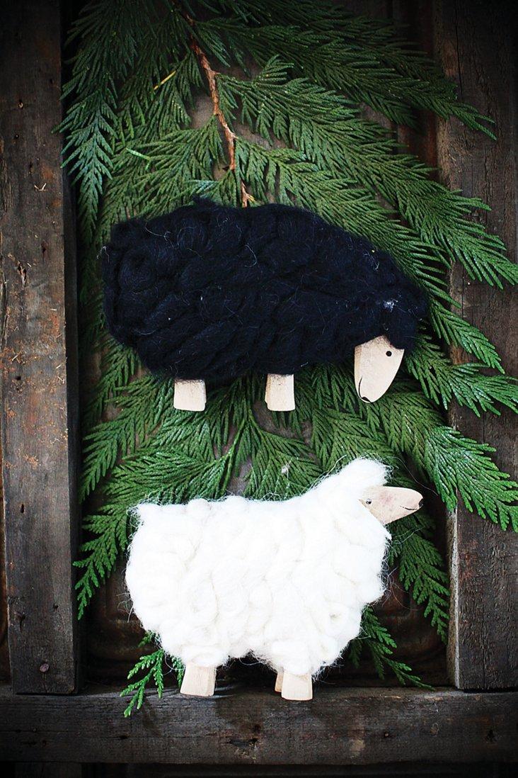 S/2 Wood & Wool Sheep, Small