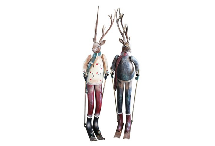 Metal Skiing Deer, Asst. of 2