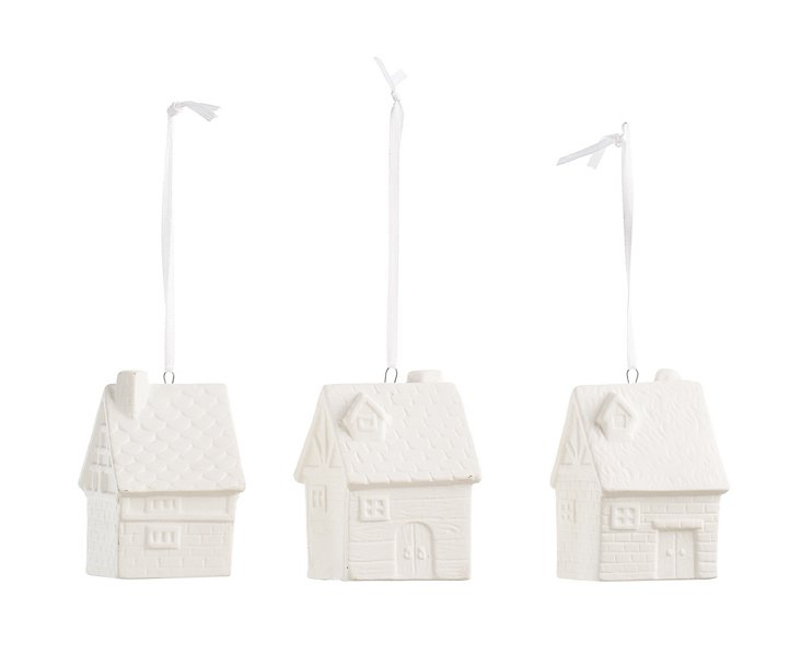 Ceramic House Ornaments, Asst. of 3