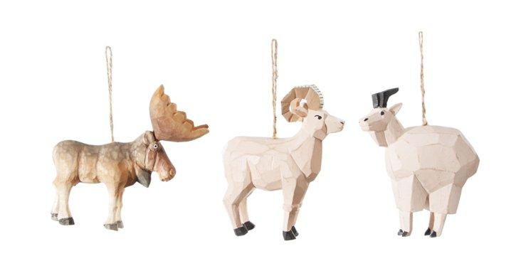 Wood Animal Ornaments, Asst. of 3