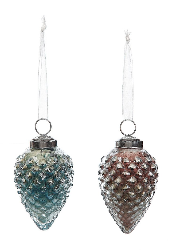 "4"" Mercury Glass Pinecones, Asst. of 2"