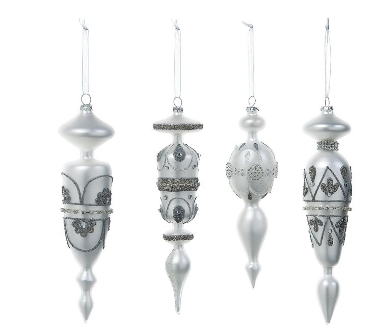 """S/4 9"""" Glass Ornaments,  White"""