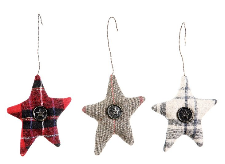 Winter Star Ornaments, Asst. of 3