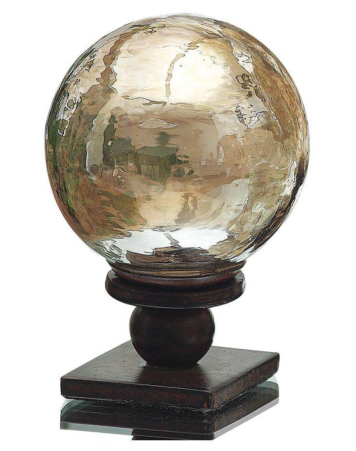 "4"" Luster Glass Orb on Metal Base, Brown"