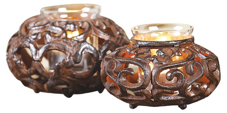 S/2 Tea Light Holders w/ Glass, Brown