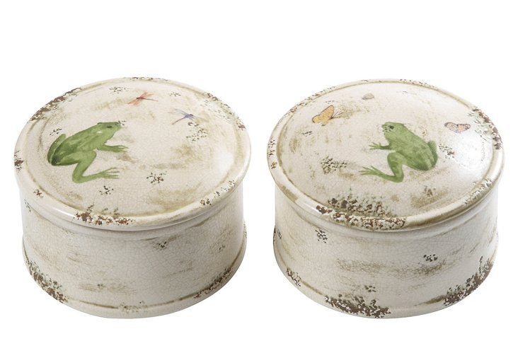 Stoneware Nature Boxes, Asst. of 2