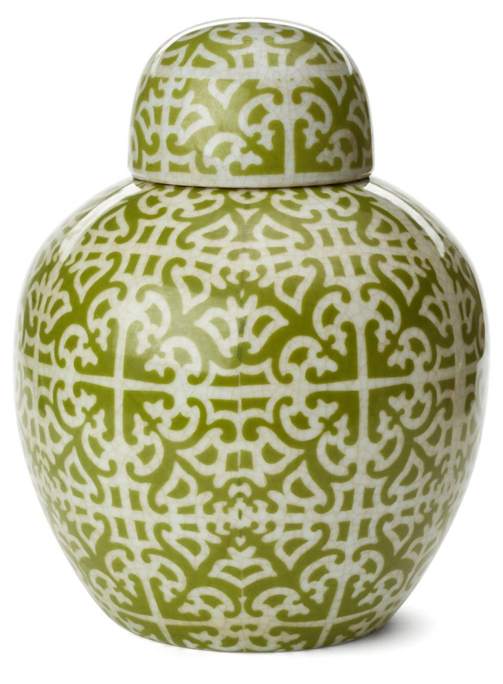 "15"" Stoneware Ginger Jar, Green"