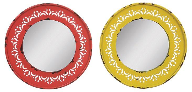 Round Metal Framed Mirror Set