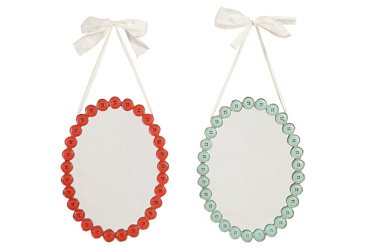Button Framed Ribbon Mirrors Set