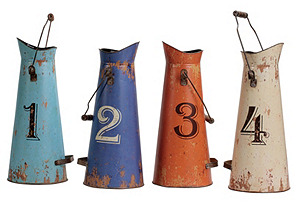 Tin Buckets w/ Numbers, Asst. of 4