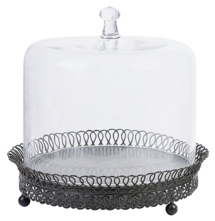 Metal Cupcake Holder w/ Glass Cover
