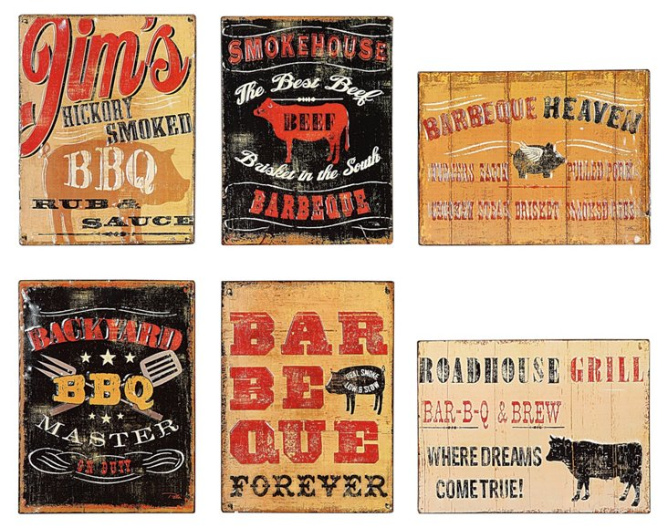 """Embossed """"BBQ"""" Wall Plaques, asst. of 6"""
