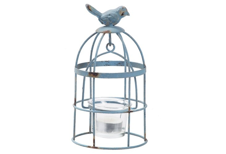 S/2 Birdcage Tea Light Holders, Blue