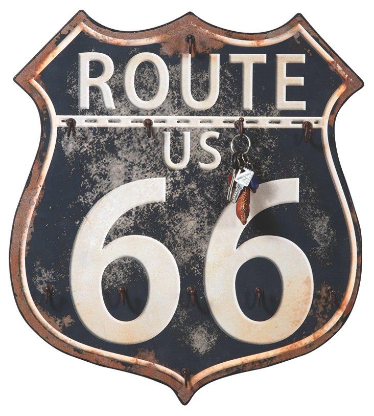 Route 66 Plaque w/ Hooks