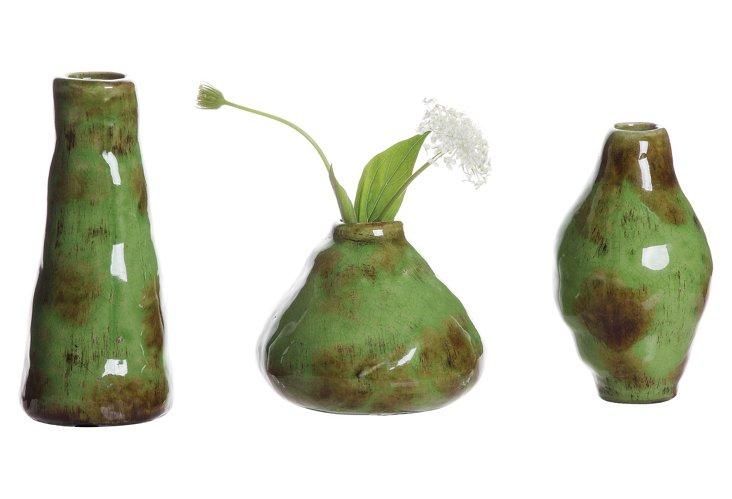 Green Terracotta Vases, Asst. of 3