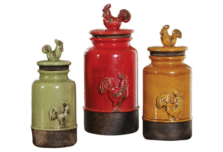 S/3 Farmhouse Canisters w/ Lids