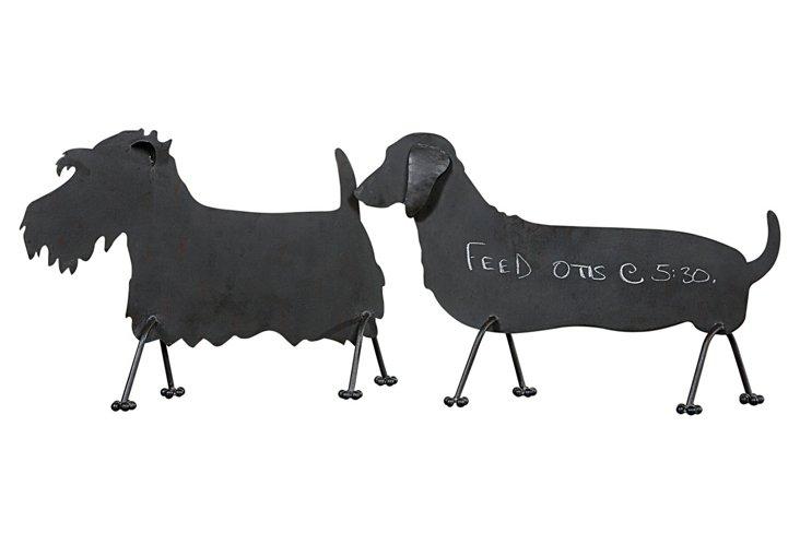 Metal Dog Shaped Chalkboards, Asst. of 2