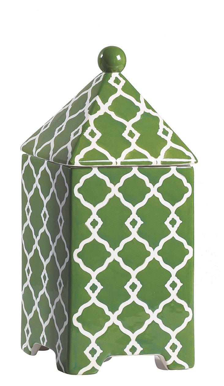 Hand-Painted Trellis Stoneware, Green