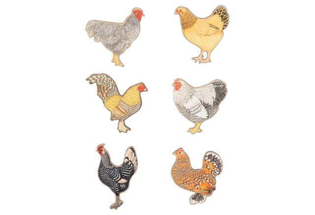 S/6 Rooster Magnets w/ Bag
