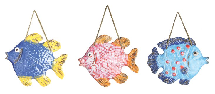 Colorful Fish Wall Decor, Set of 3
